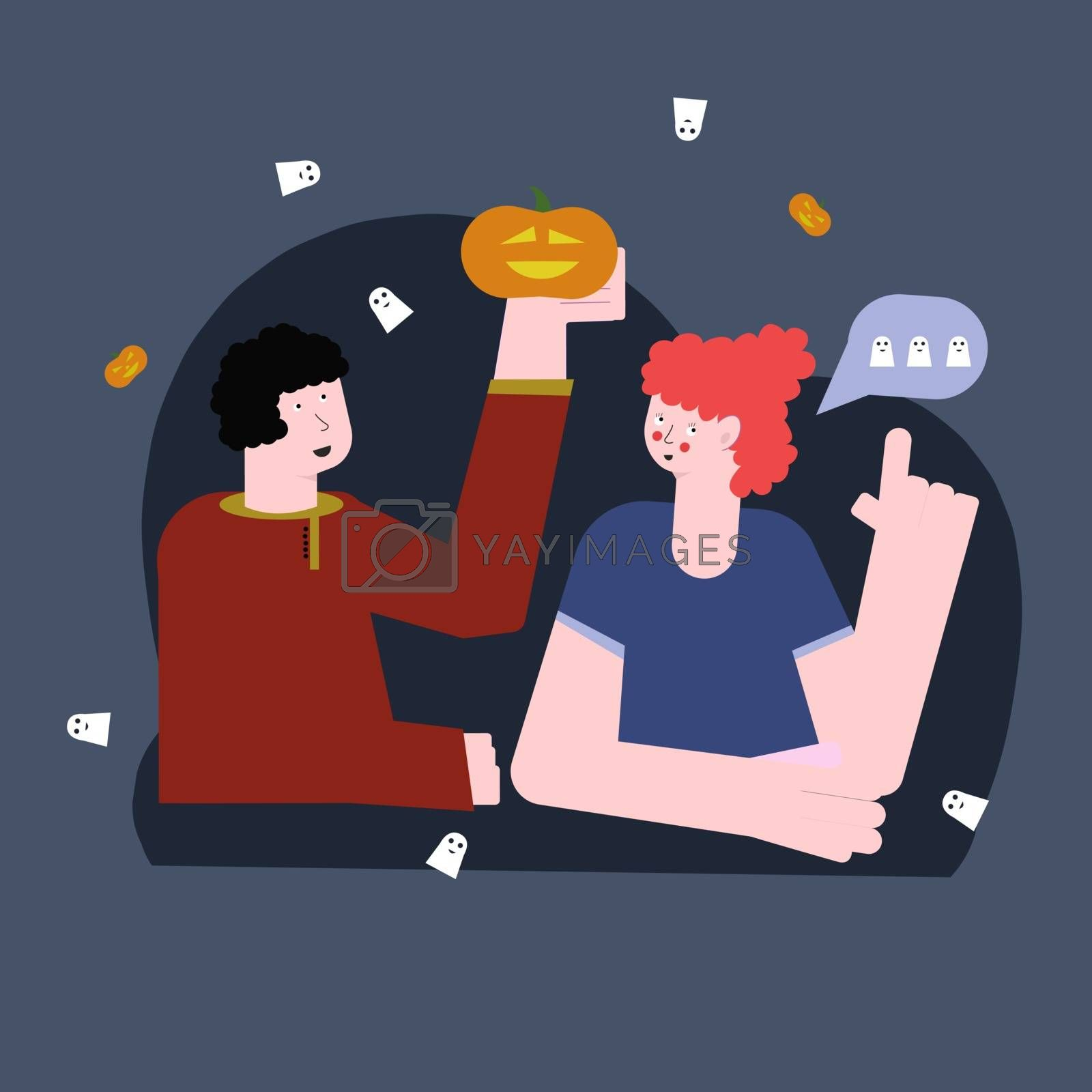 A guy and a girl are discussing how to celebrate a halloween party. Vector illustration for mailing lists and web pages.