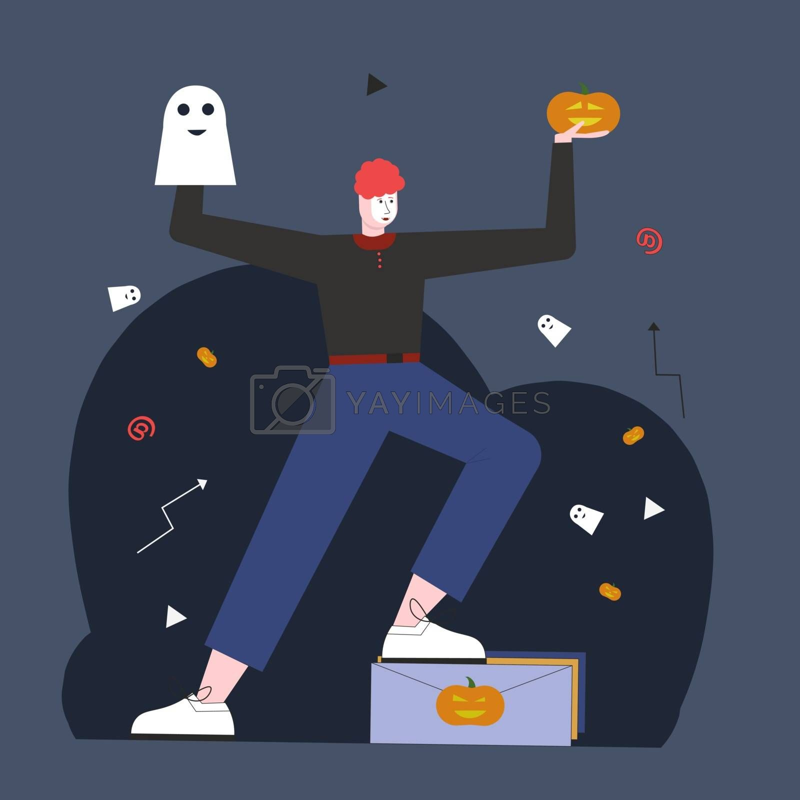 SENDING CONGRATULATIONS to Halloween. Illustration for web page. by zaryov