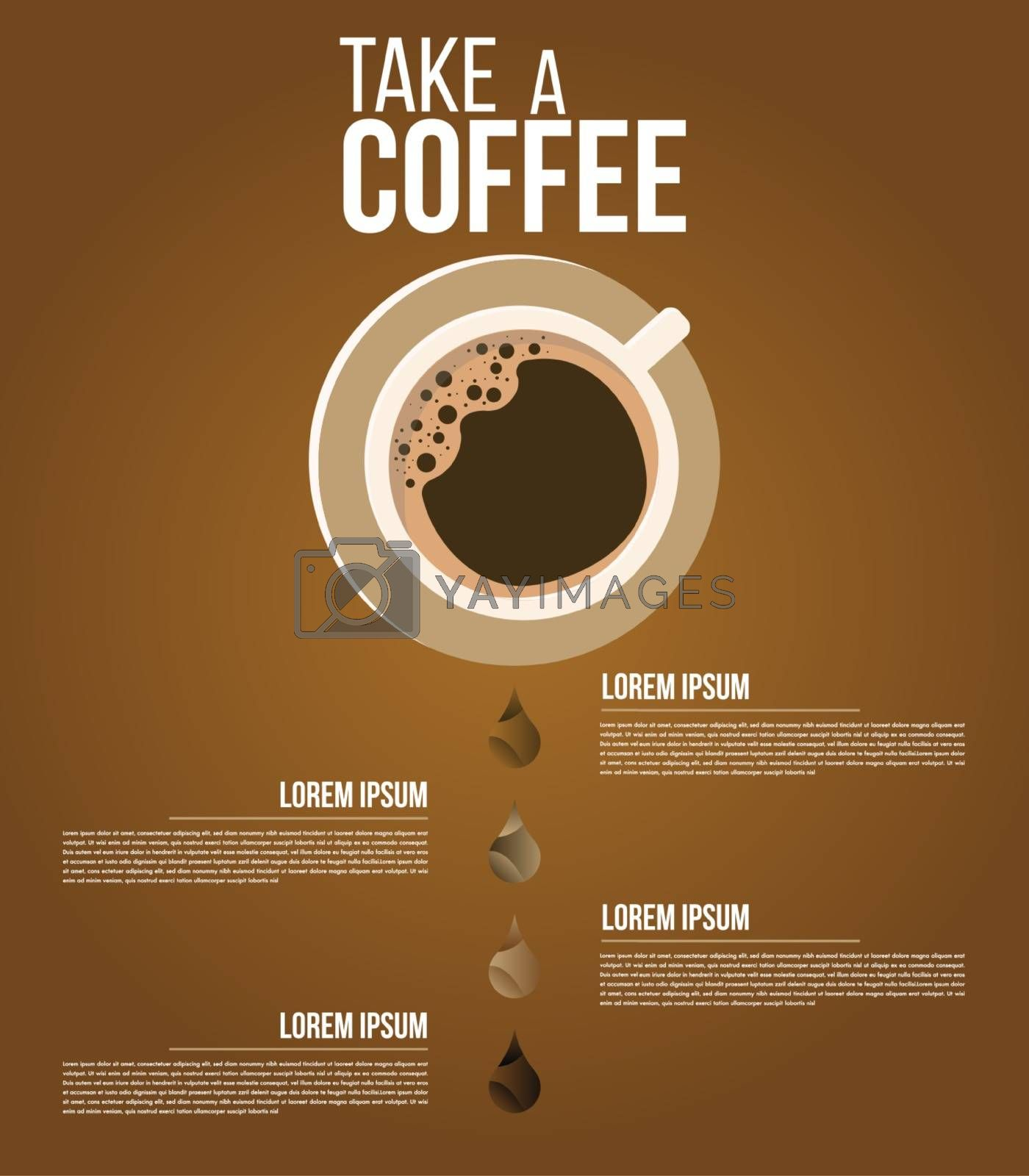 Infographic coffee minimal menu ingredient design vector template for coffee business with 4 steps or options illustrate a strategy. Can be used for workflow layout, diagram, annual report, web design