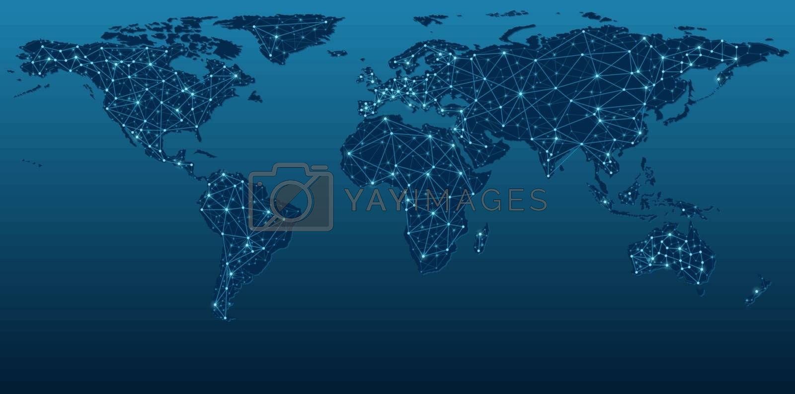 Dark Blue World Map Showing Communication Networks - Abstract Background Illustration, Vector