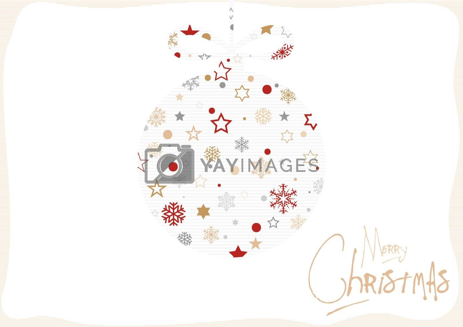 Xmas Card with Decorative Pattern in the Shape of a Christmas Ball - Background Illustration, Vector
