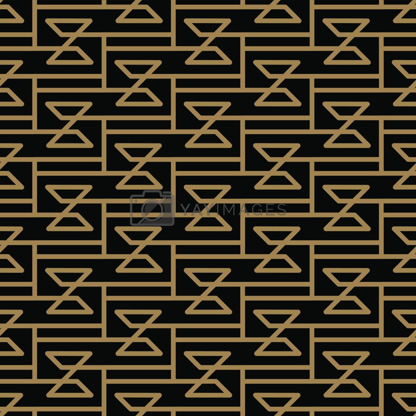 seamless geometric pattern by stripes line . Seamless vector background. Black texture.