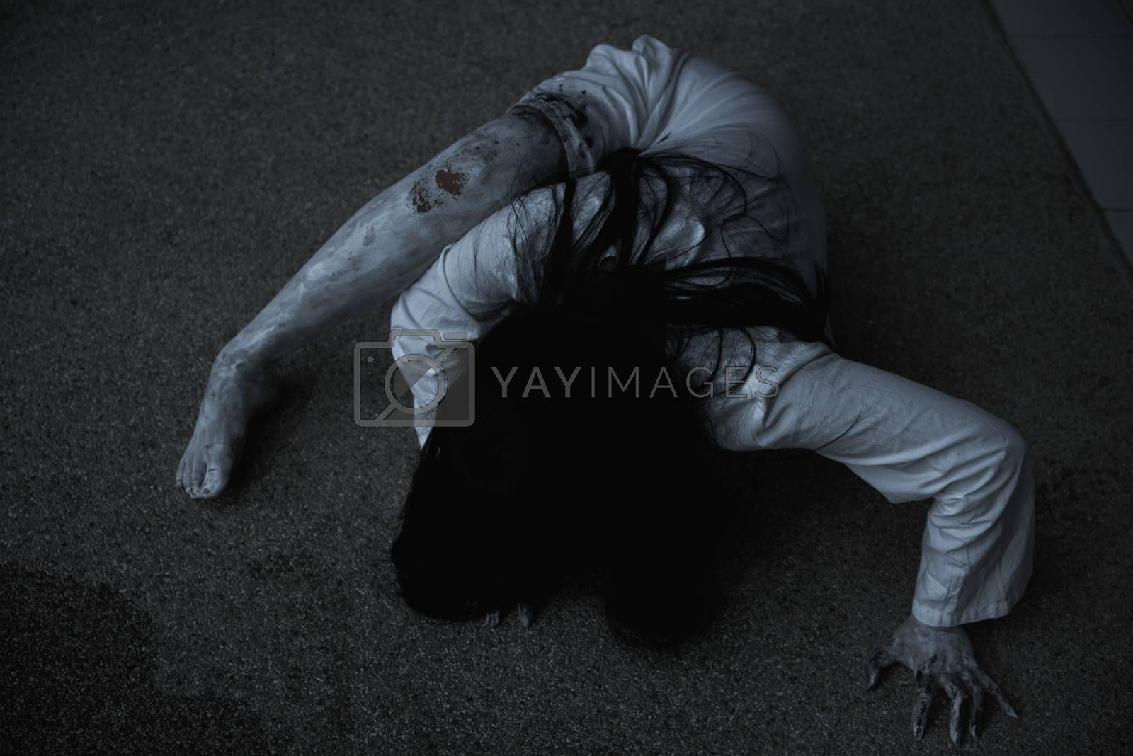 Woman ghost horror creepy her is crawling, by Sorapop