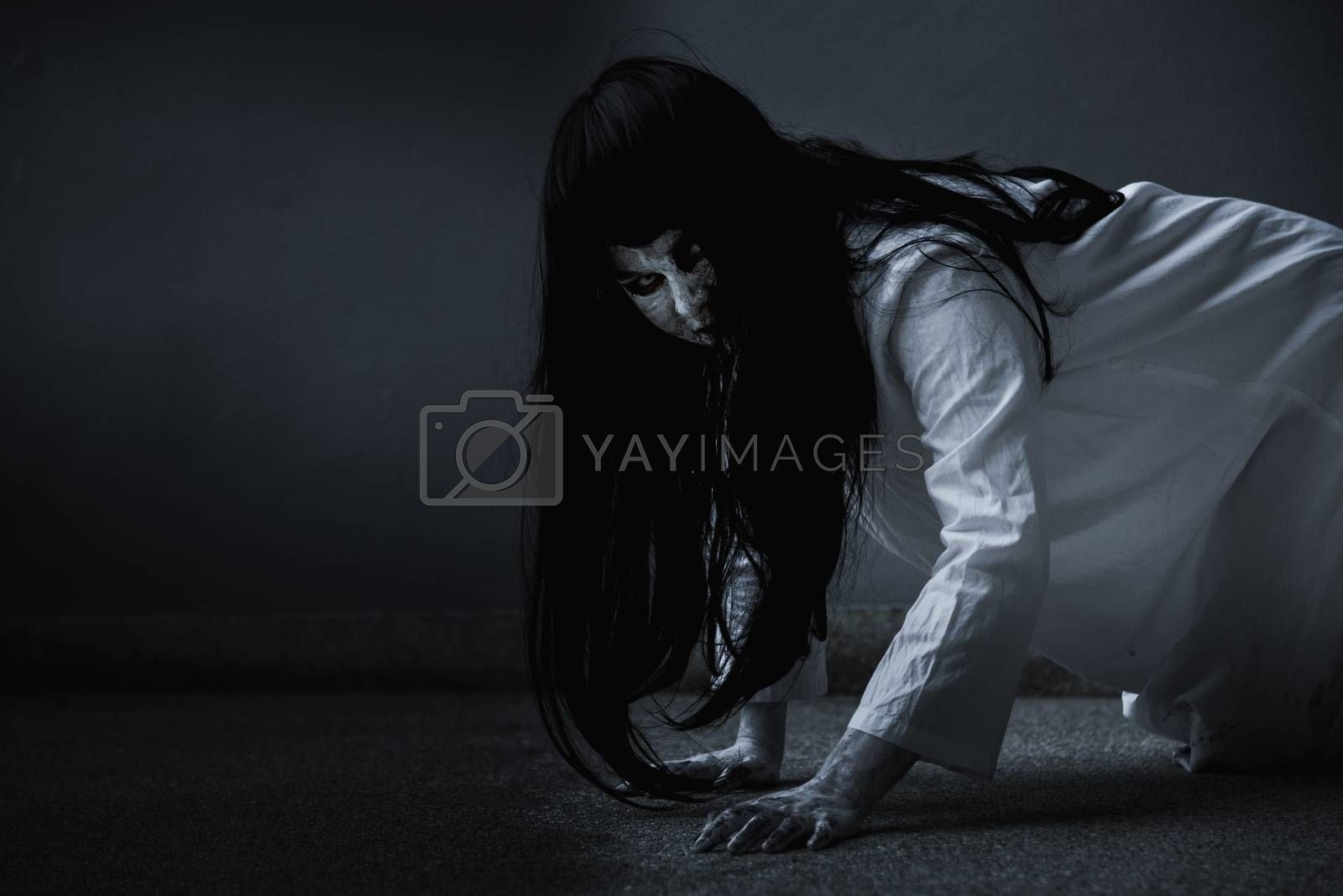 Horror woman ghost creepy crawling, by Sorapop
