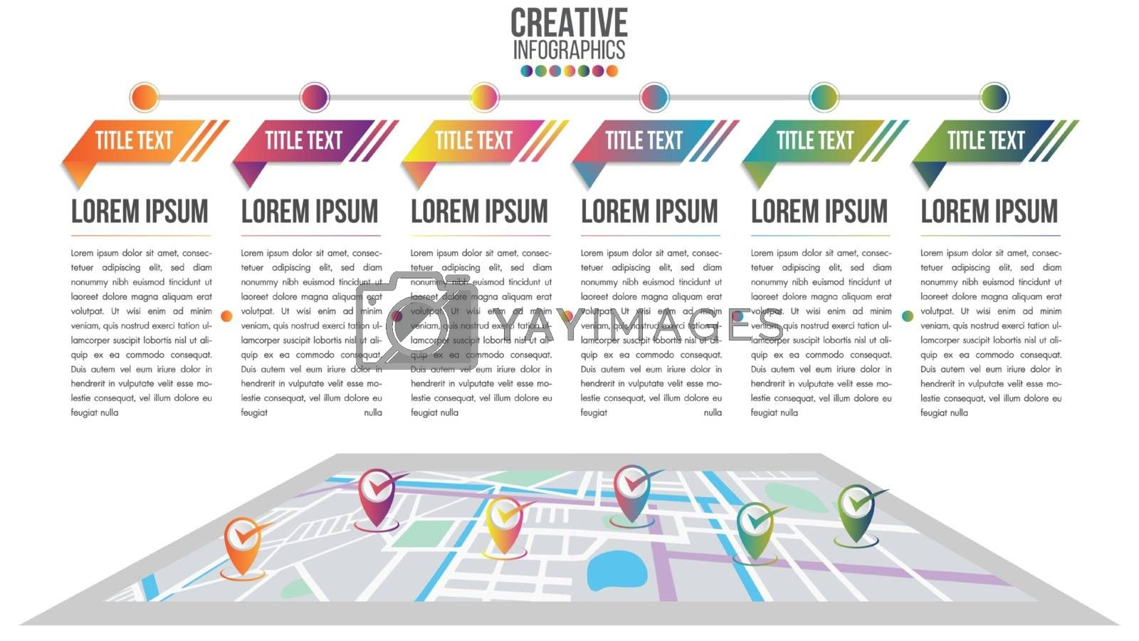 Infographic modern timeline design vector template for business with 6 steps or options illustrate a strategy. Can be used for workflow layout, diagram, annual report, web design, team work.