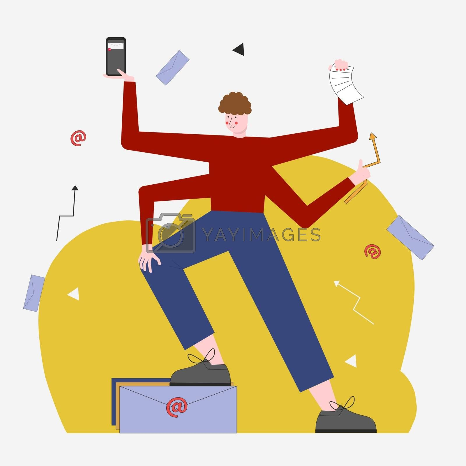 Vector illustration of a young business man with many hands, personal assistant or hardworking secretary. For a concept or newsletter