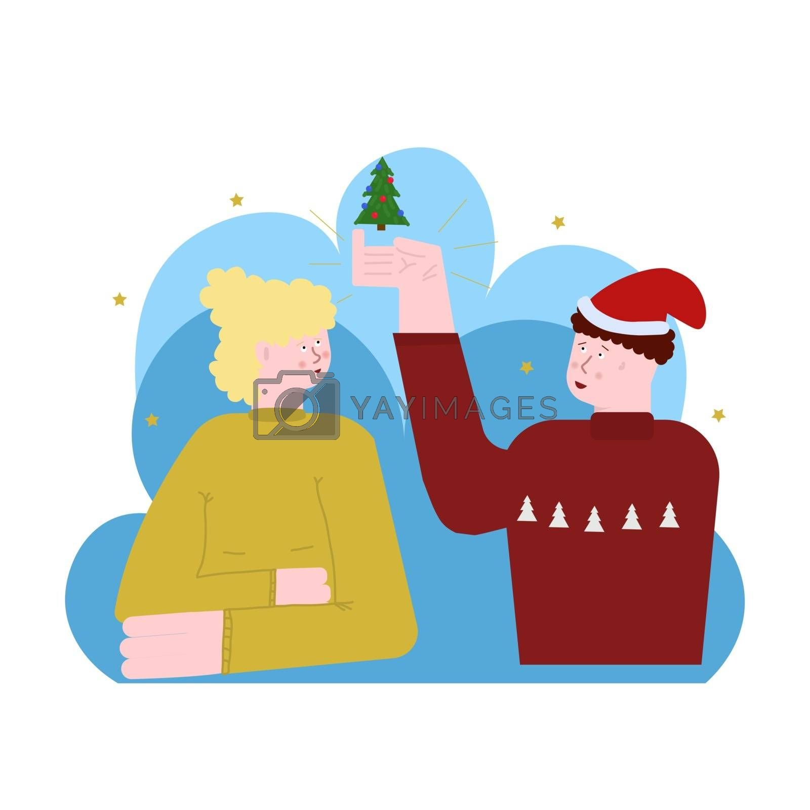 Happy new year and merry Christmas. Vector flat illustration. man and woman. Sympathy, love, friendship, relationship, smile by zaryov