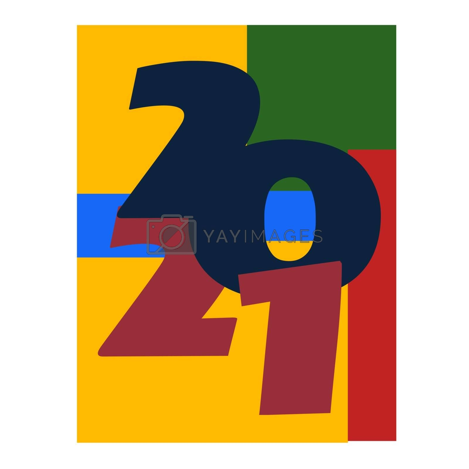 Colored 2021 Happy New Year. Elegant design of colorful 2021 logo numbers. Perfect typography for design and new year celebration invite. Christmas vector illustration. Isolated on white background.