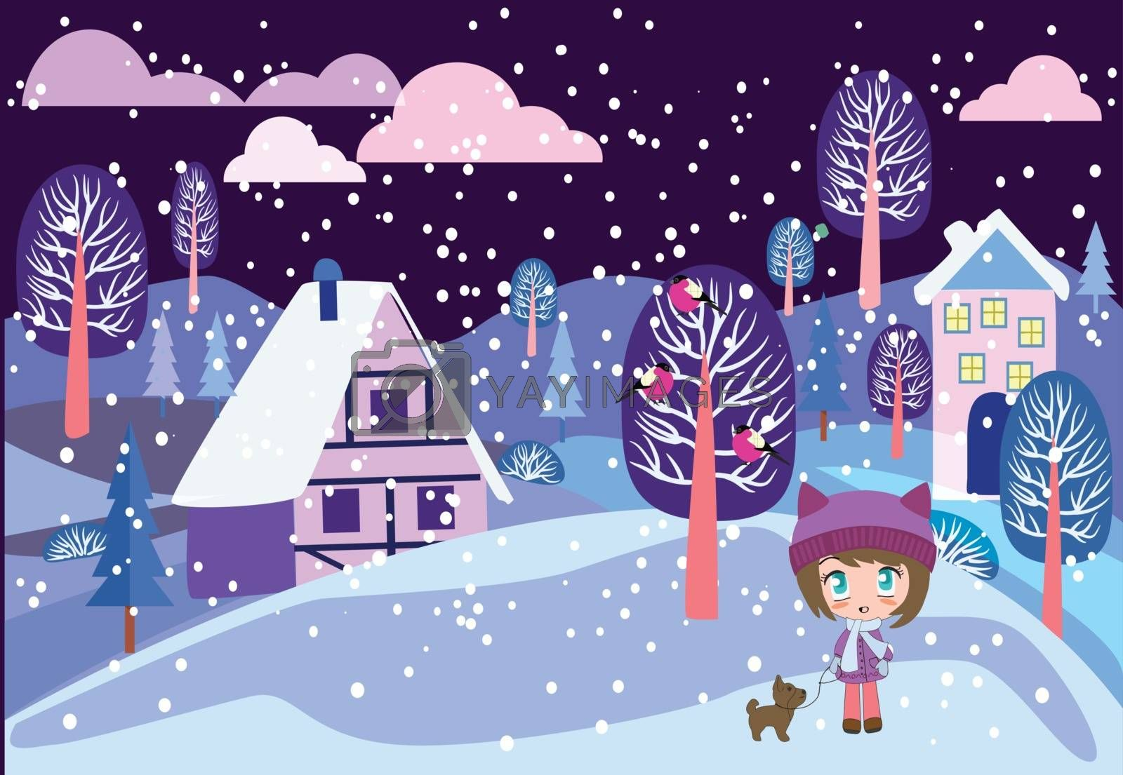 Cute girl with small dog on Winter landscape. Beautiful cartoon chibi girl. Merry Christmas greeting card design with Winter country night landscape.