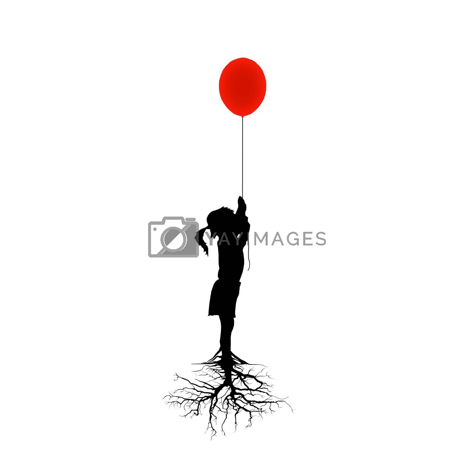 little girl holding a baloon isolated on white background 3d illustration