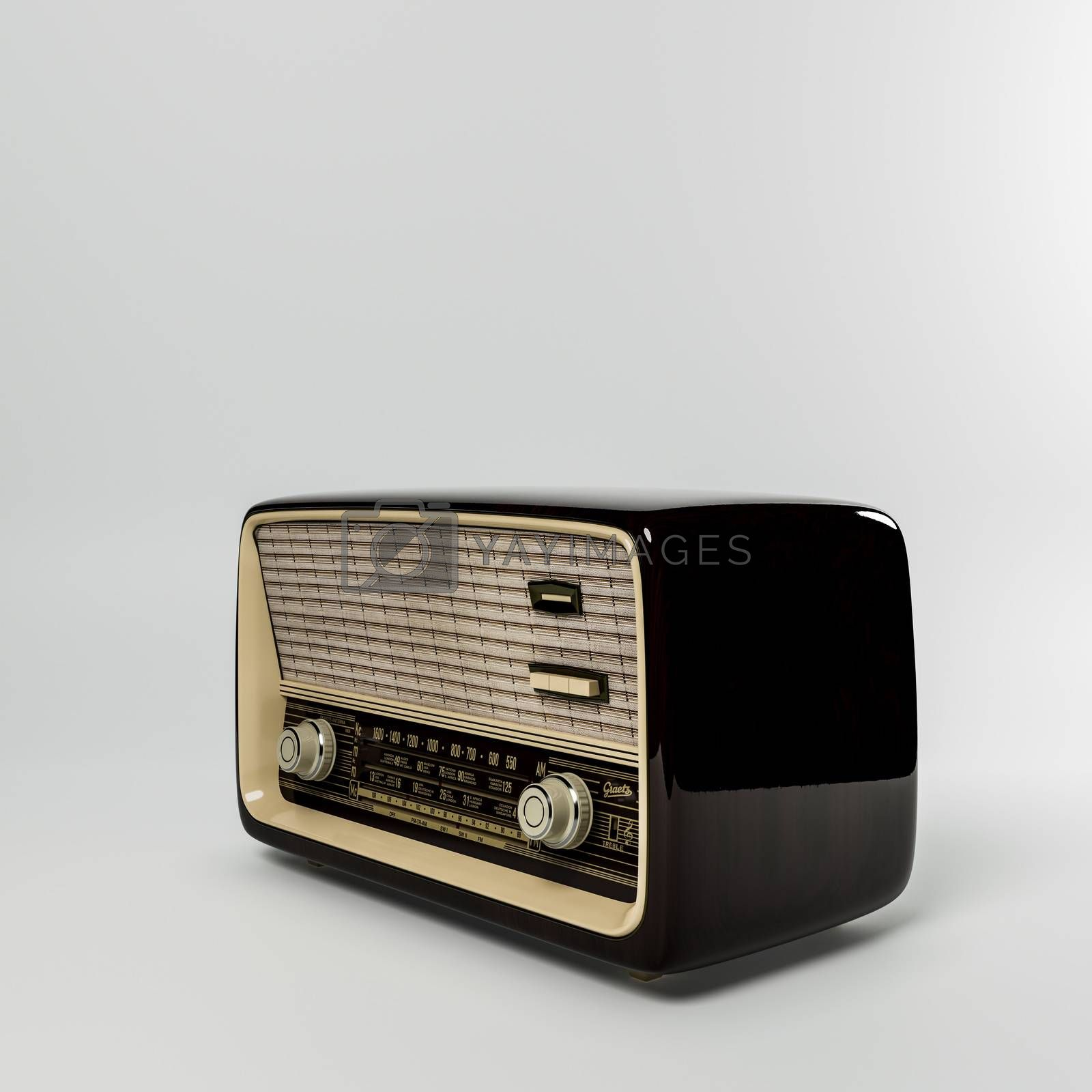 old wooden radio isolated on white background 3d illustration