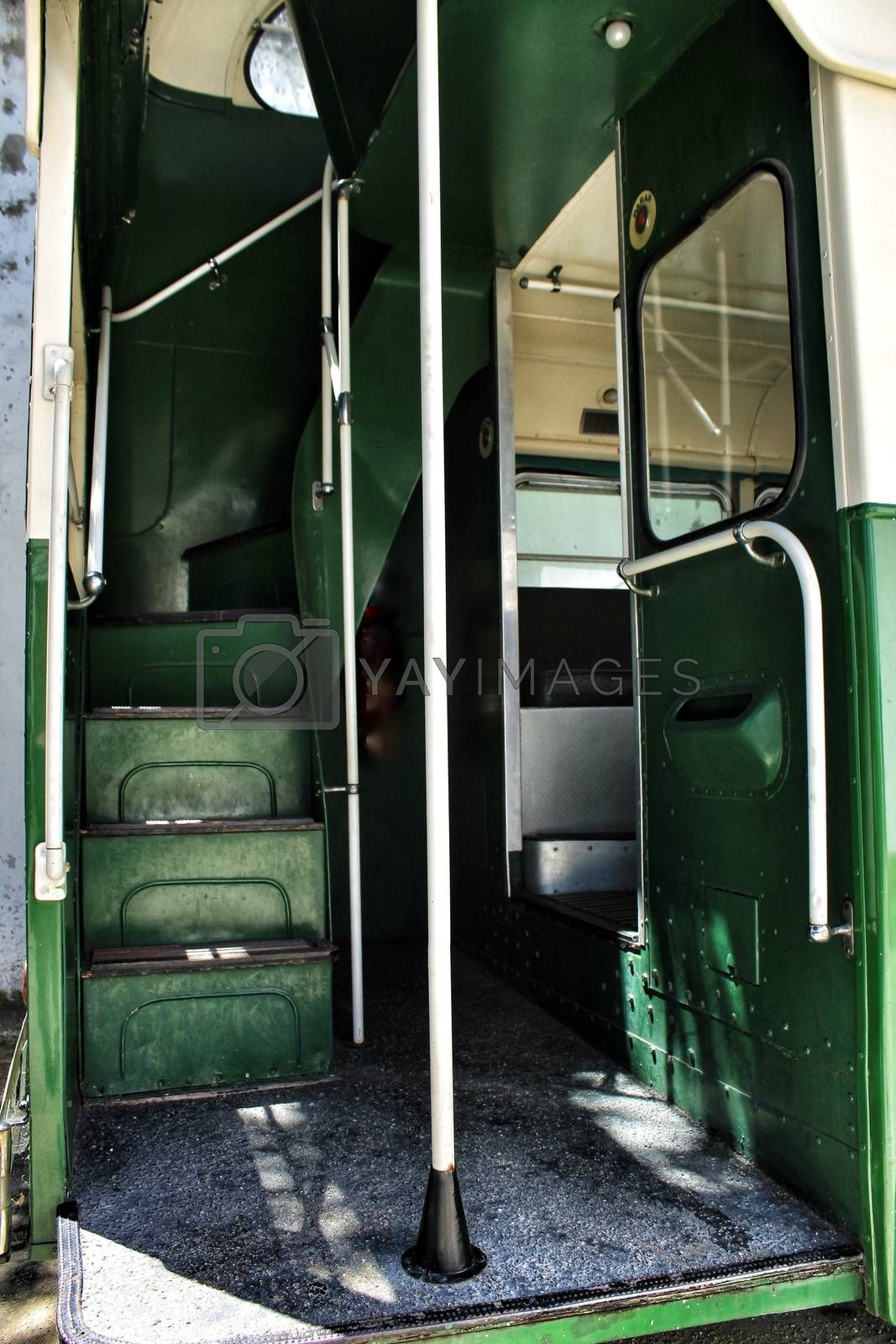 Lisbon, Portugal- June 15, 2018: Old and colorful inside passenger bus at an exhibition.