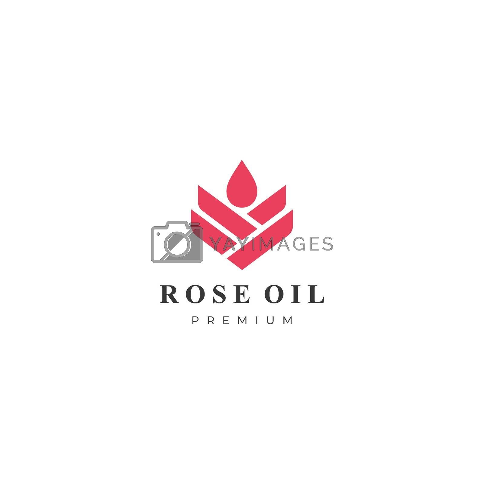 rose oil modern logo vector illustration. flat geometric design. isolated on white background.