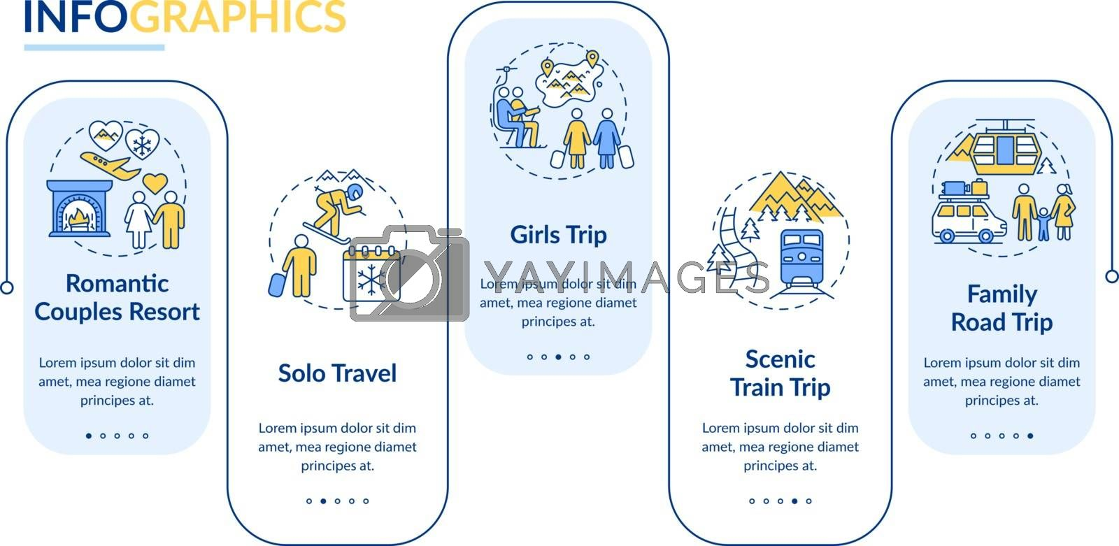 Winter trip ideas vector infographic template. Girls-only, family road travel presentation design elements. Data visualization with 5 steps. Process timeline chart. Workflow layout with linear icons