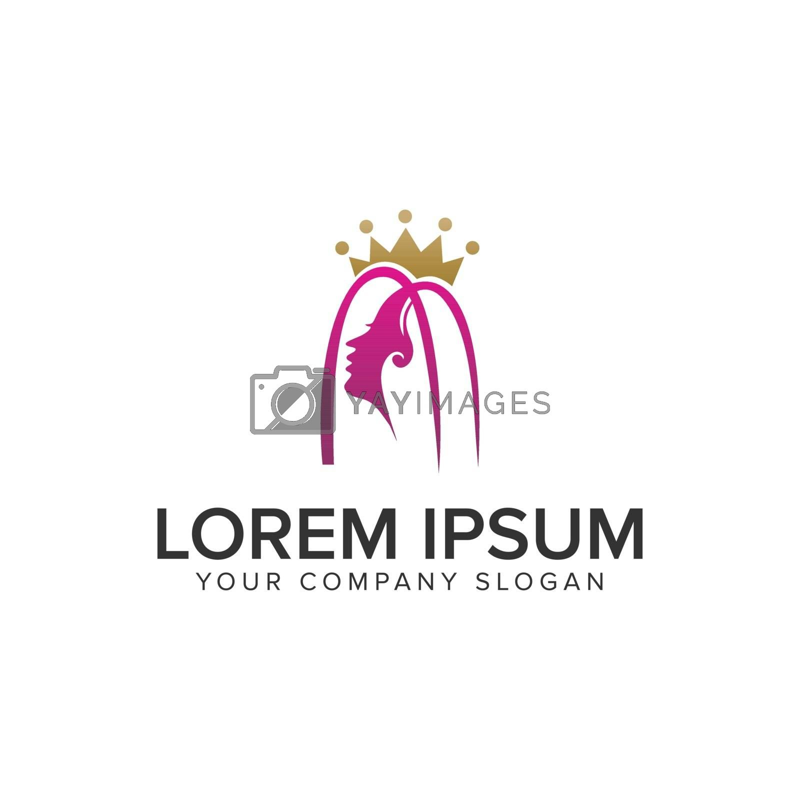 beauty woman with crown logo design concept template. fully editable vector