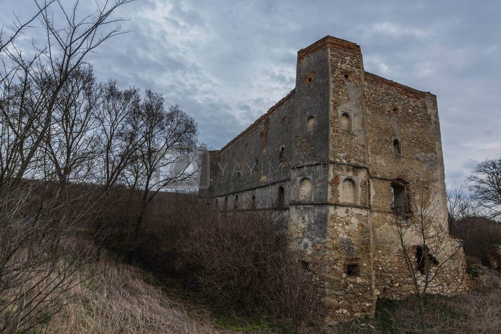 old castle with clouds and sky