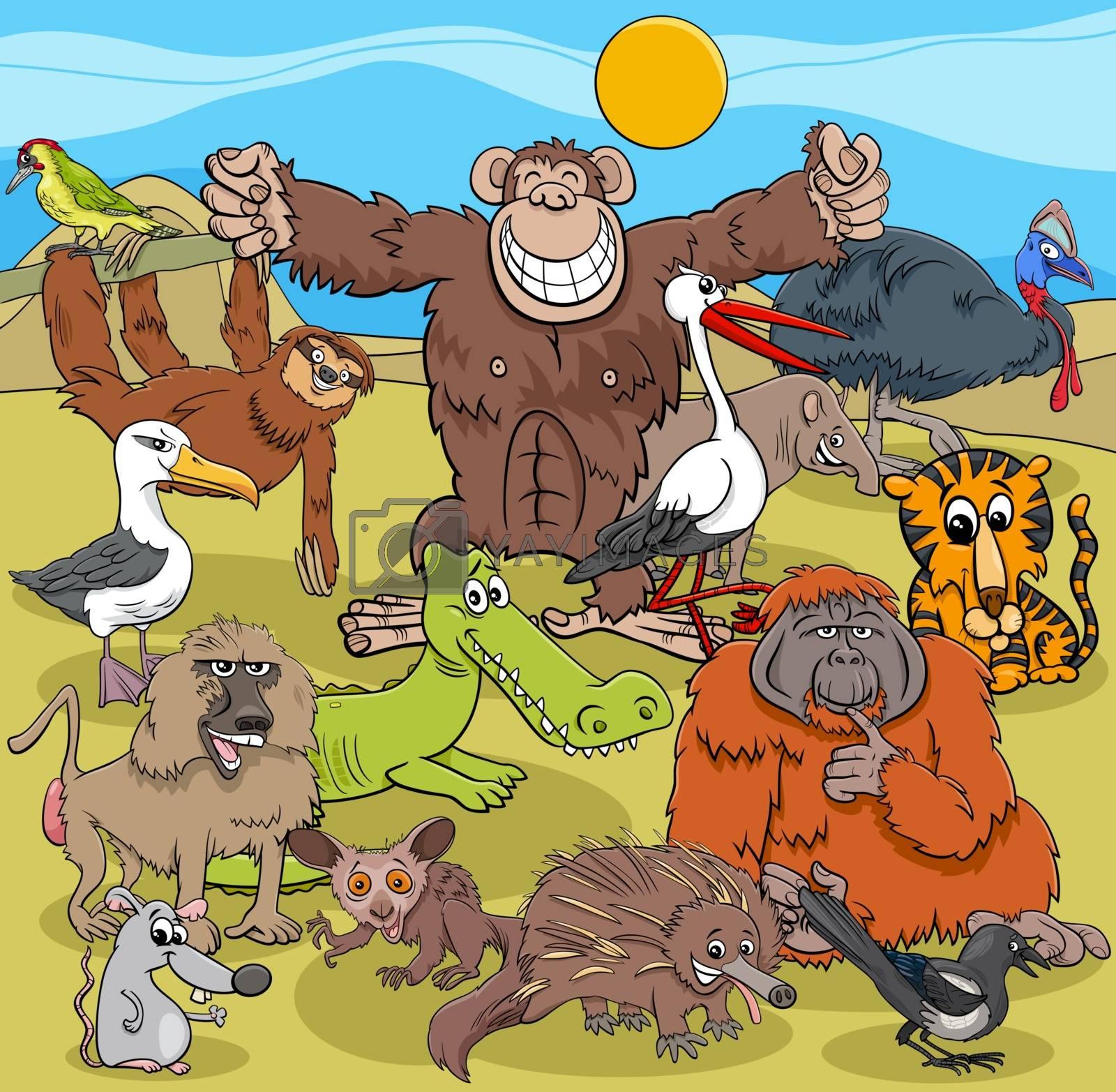 Cartoon Illustrations of Wild Animal Comic Characters Group