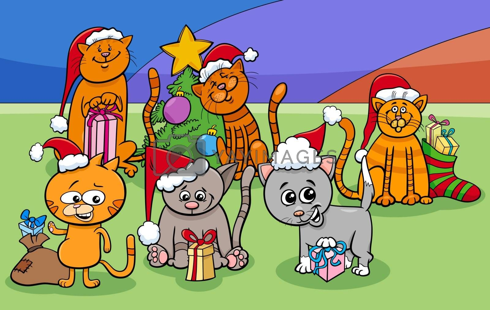 Cartoon Illustration of Cats and Kittens Animal Characters Group on Christmas Time