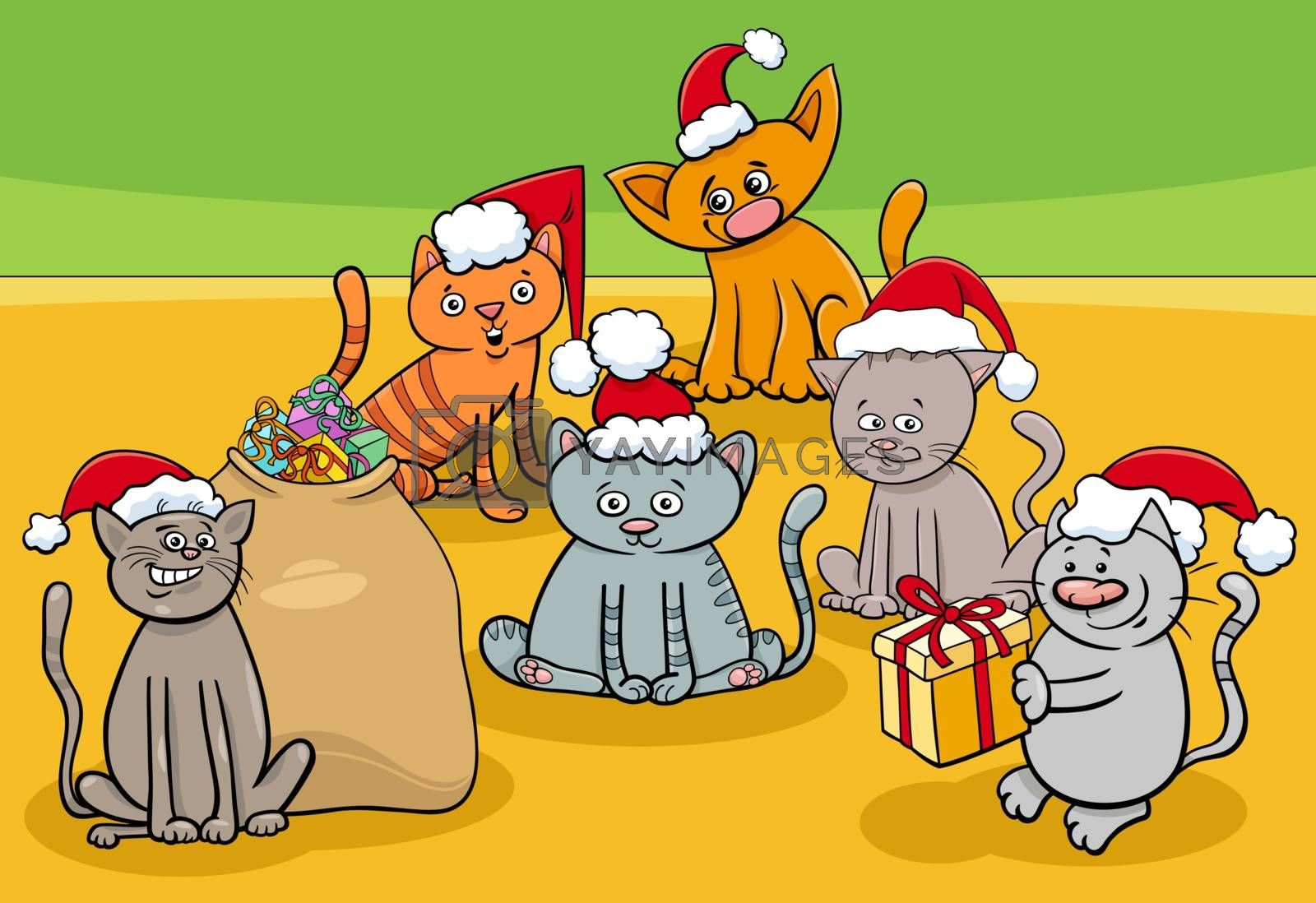 Cartoon Illustration of Funny Cats and Kittens Animal Characters Group on Christmas Time