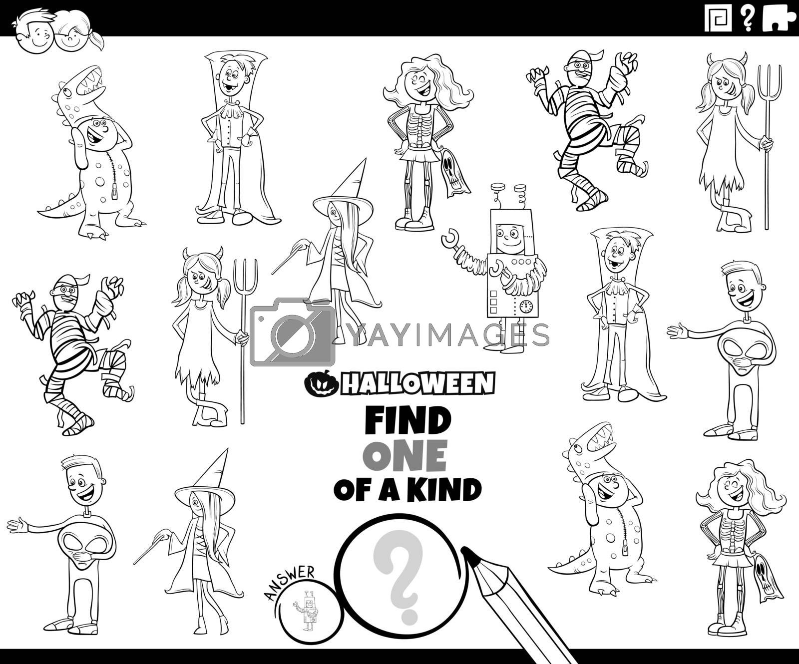 Black and White Cartoon Illustration of Find One of a Kind Picture Educational Game with Comic Halloween Party Characters Coloring Book Page