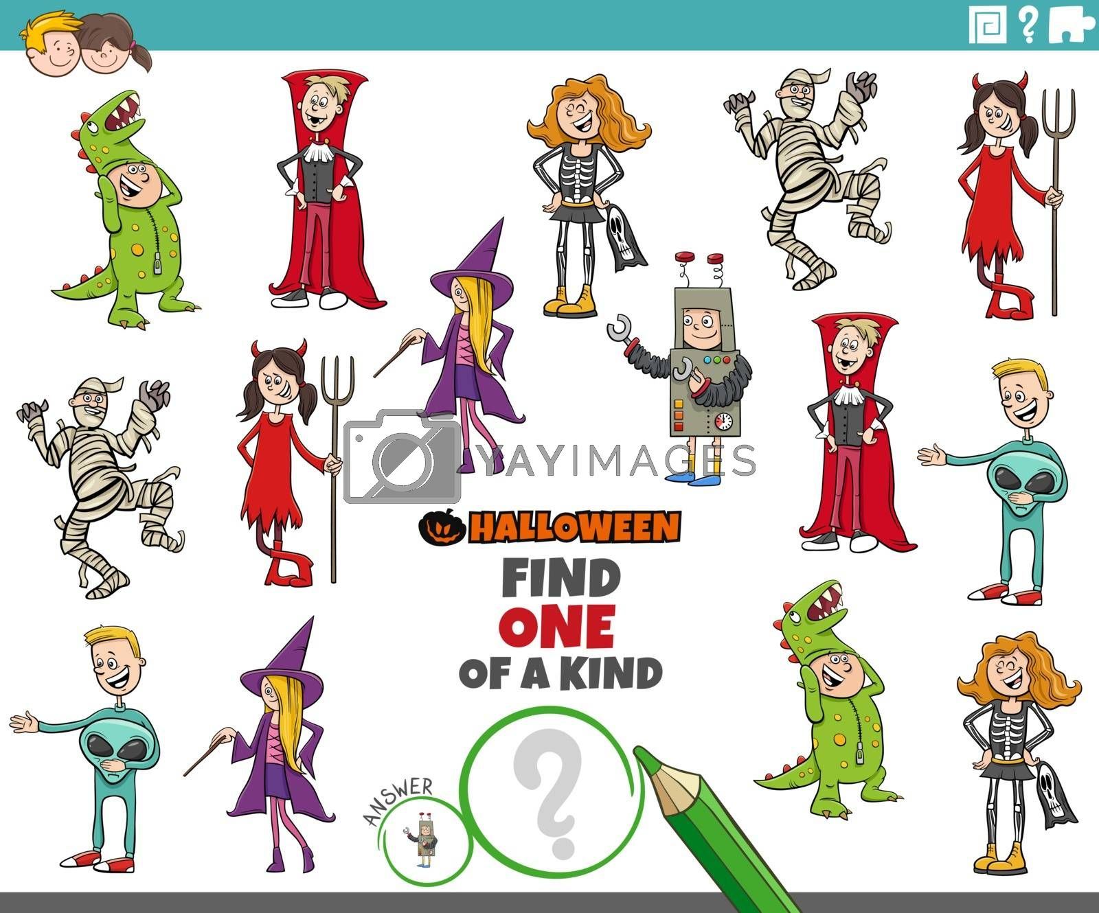 Cartoon Illustration of Find One of a Kind Picture Educational Game with Comic Halloween Party Characters