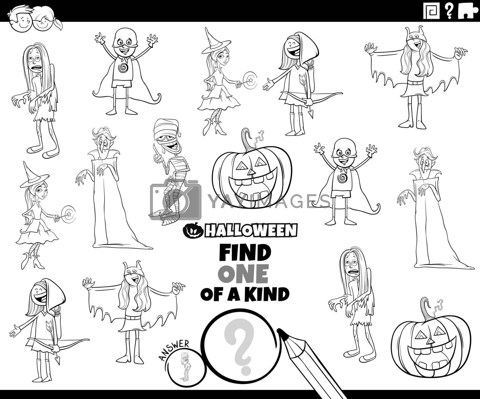 Black and White Cartoon Illustration of Find One of a Kind Picture Educational Game with Comic Halloween Holiday Characters Coloring Book Page