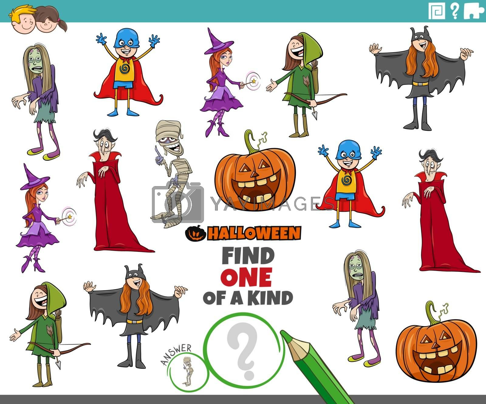 Cartoon Illustration of Find One of a Kind Picture Educational Game with Comic Halloween Holiday Characters