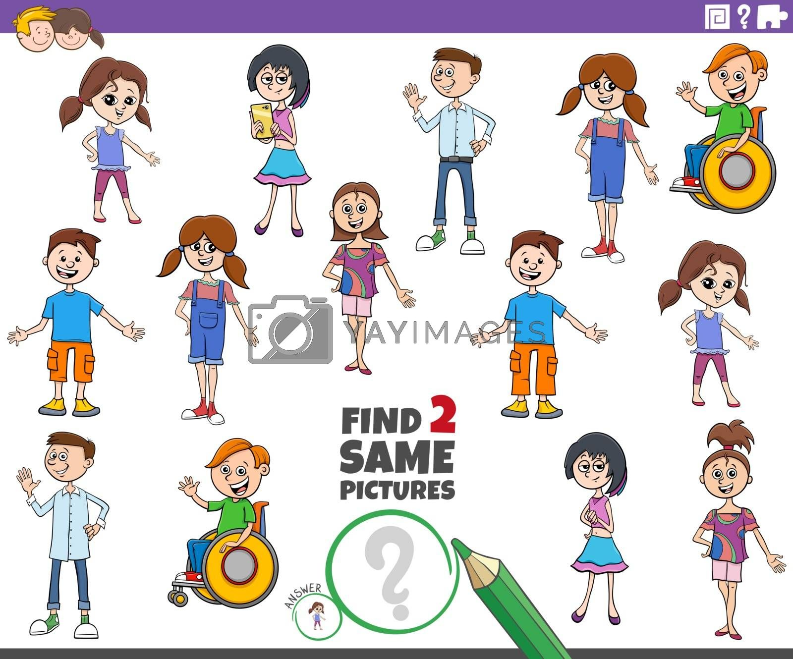 Cartoon Illustration of Finding Two Same Pictures Educational Task with Children and Teen Characters