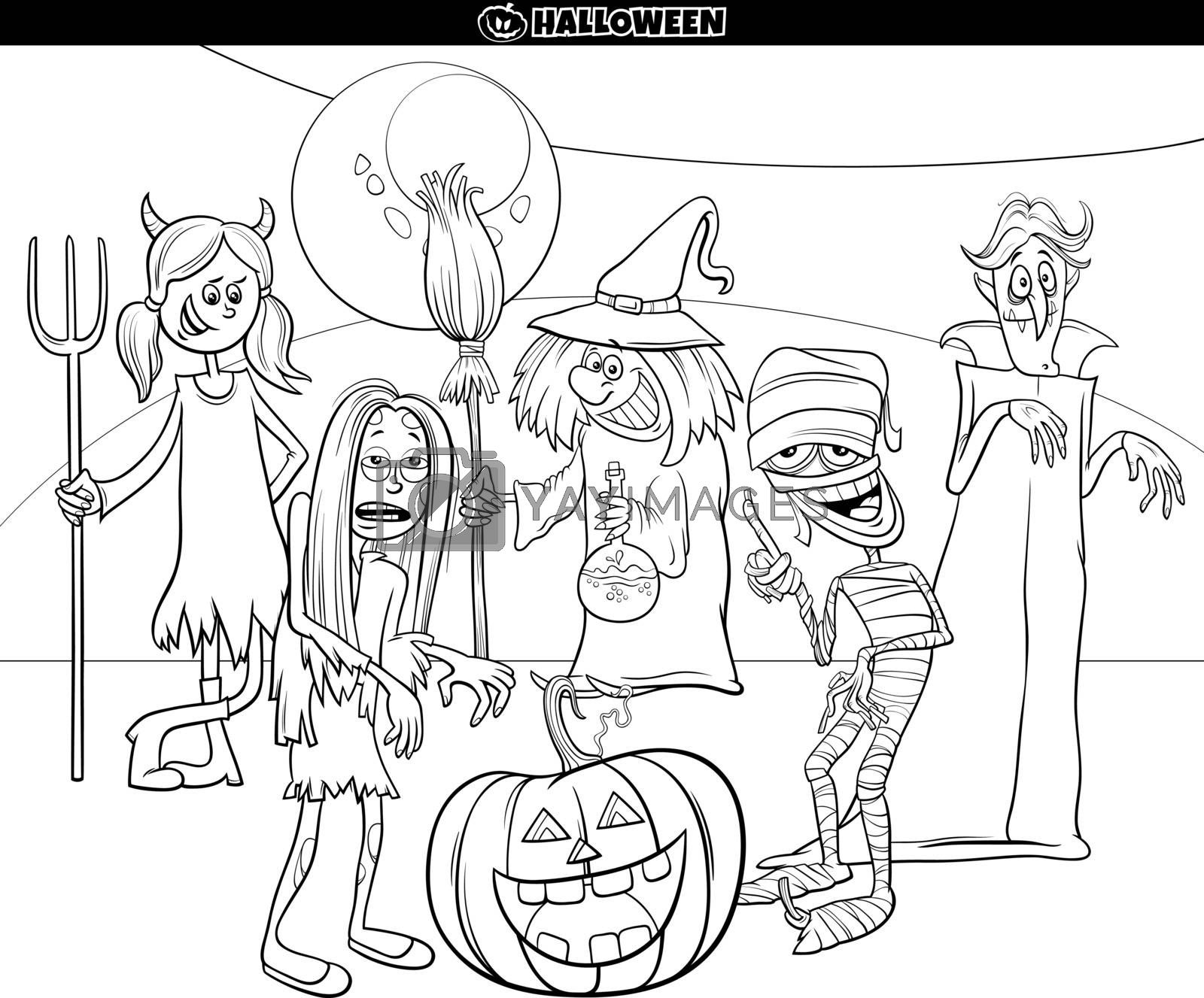 Black and White Cartoon Illustration of Halloween Holiday Comic Characters Group Coloring Book Page