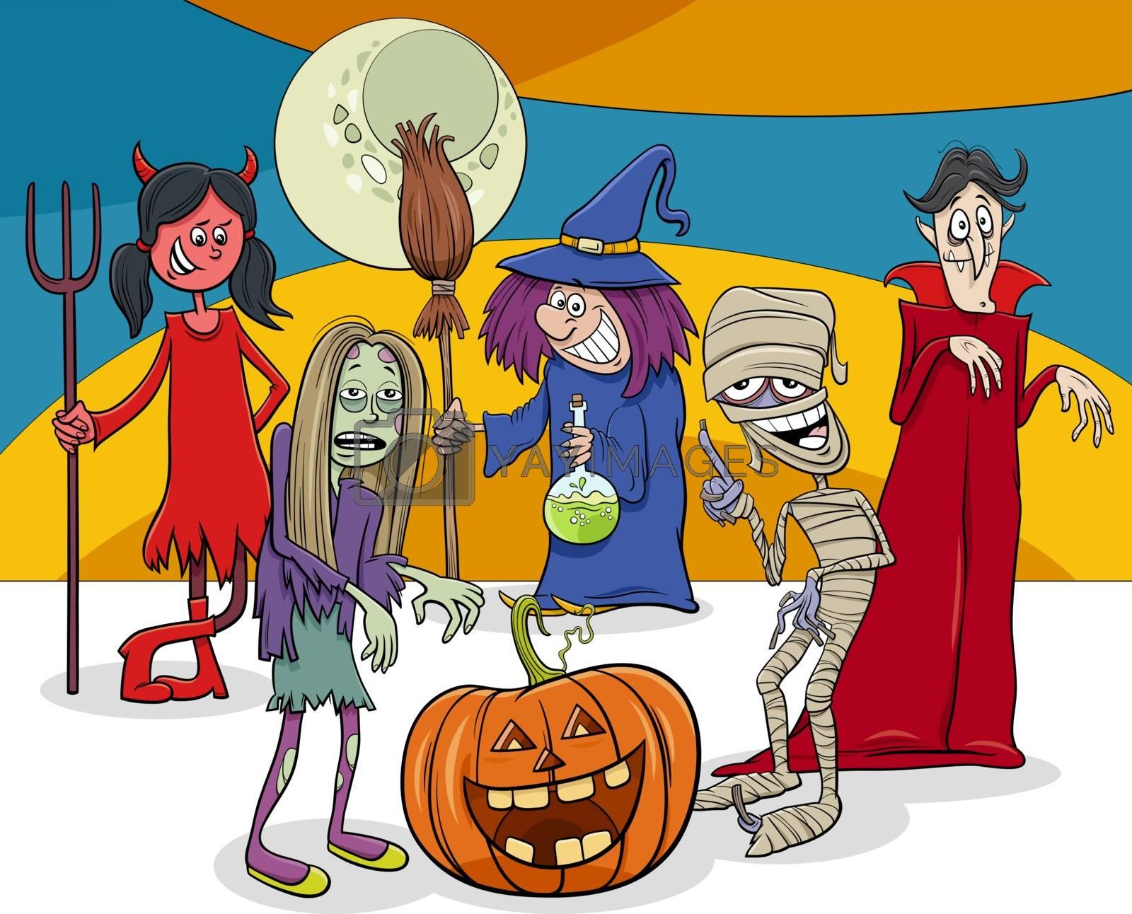 Cartoon Illustration of Halloween Holiday Comic Characters Group