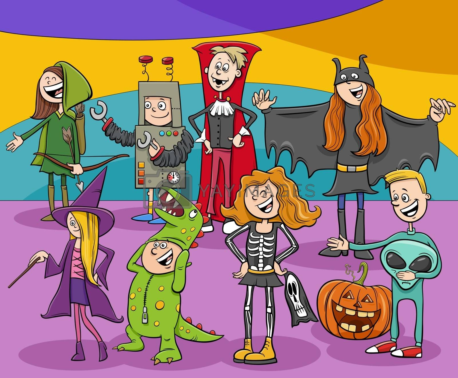 Cartoon Illustration of Characters Group at the Halloween Party