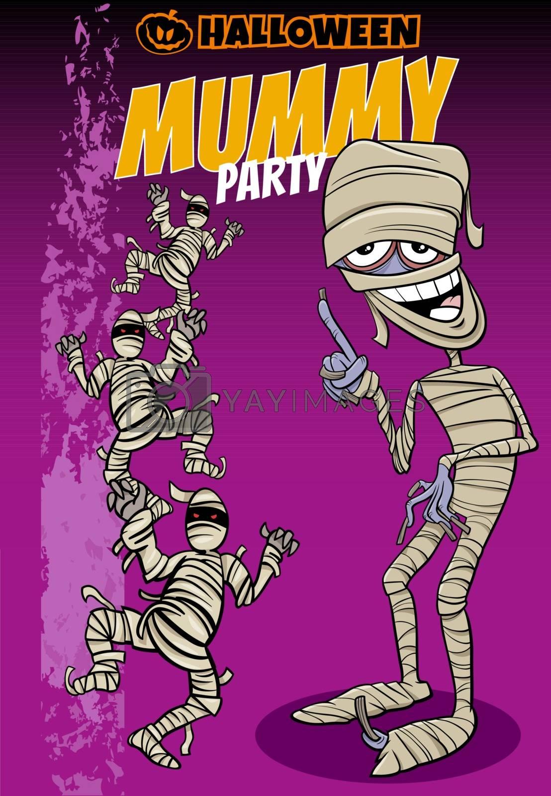 Cartoon Illustration of Halloween Holiday Mummy Party Poster or Invitation Design