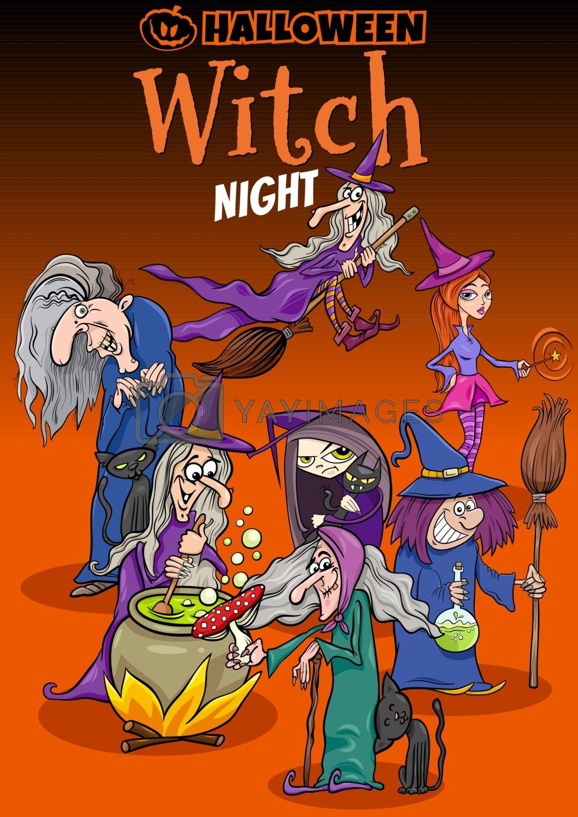 Cartoon Illustration of Halloween Holiday Witch Night Party Poster or Invitation Design