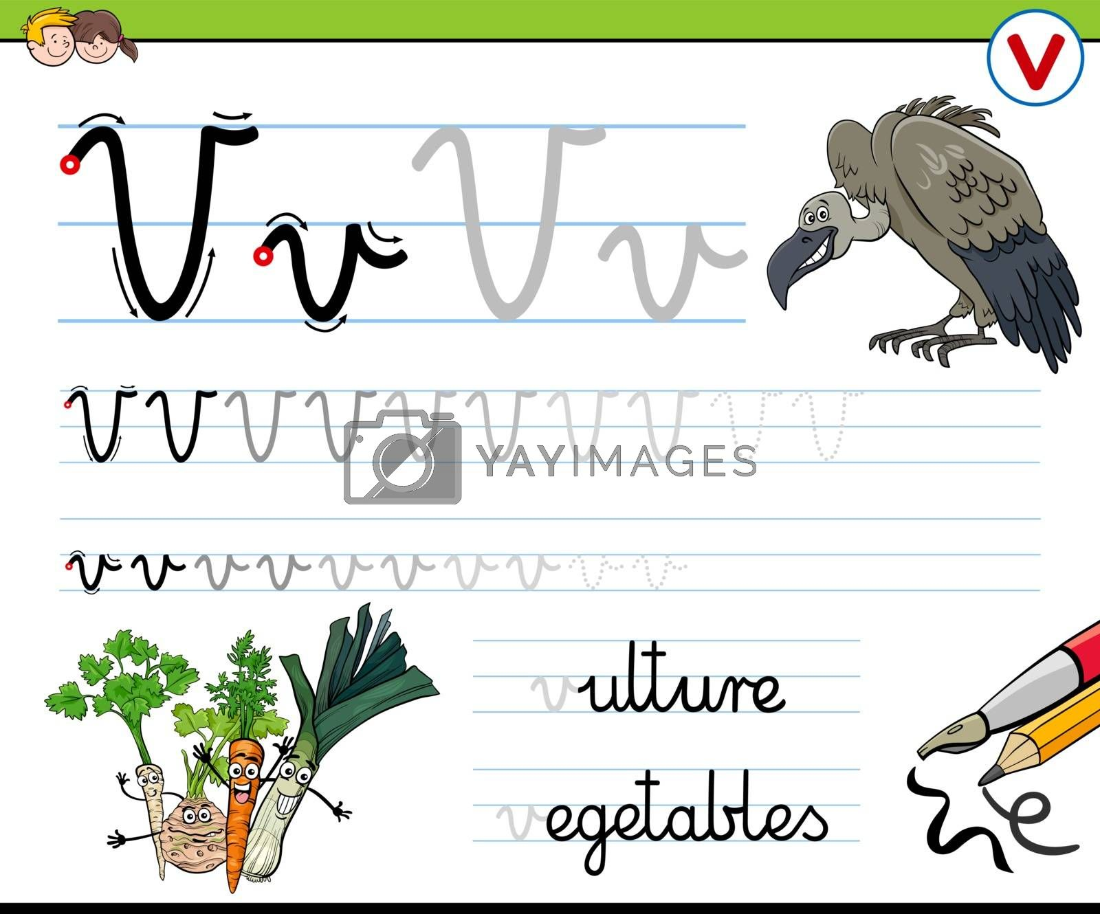 Cartoon Illustration of Writing Skills Practice Worksheet with Letter V for Preschool and Elementary Age Children