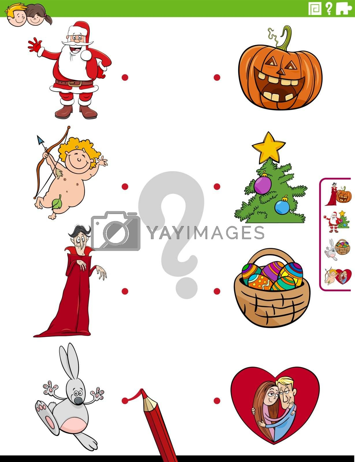 Cartoon Illustration of Educational Matching Game for Children with Holidays Characters and Symbols