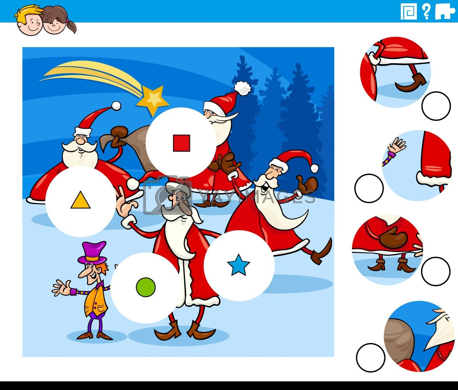 Cartoon Illustration of Educational Match the Pieces Jigsaw Puzzle Game for Children with Santa and Christmas Characters Group
