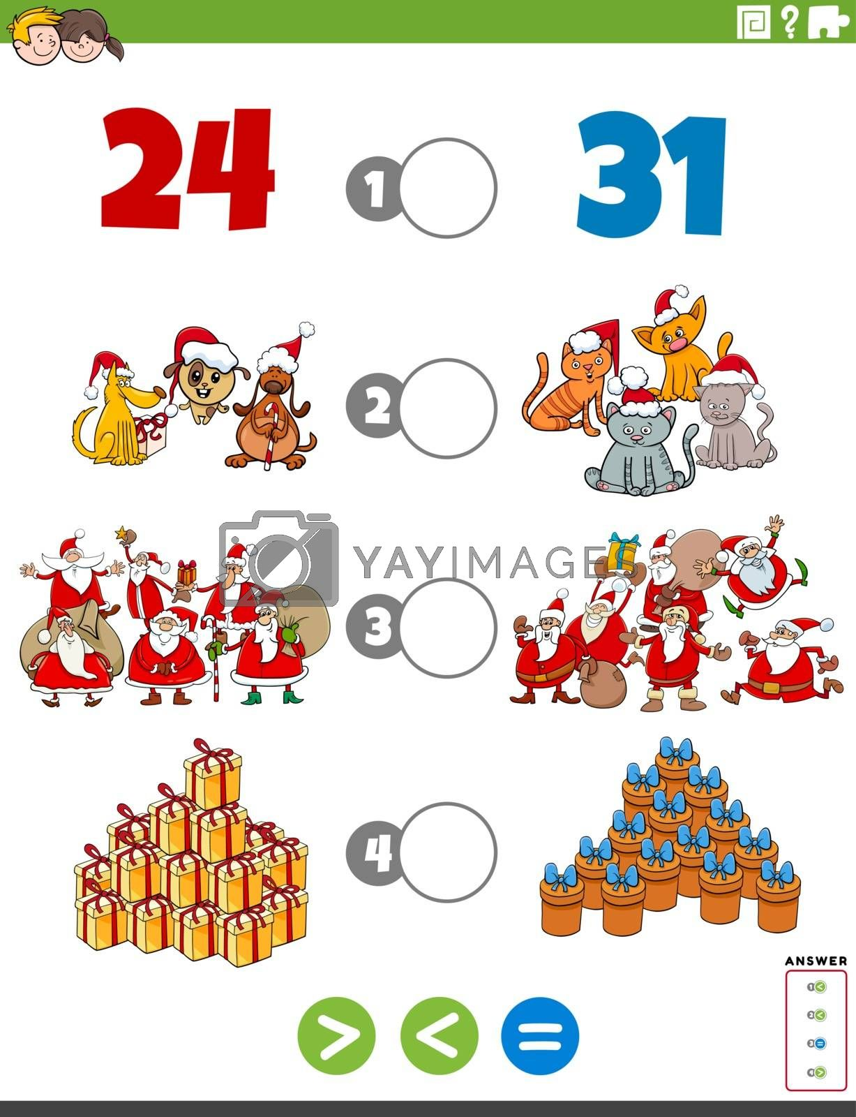 Cartoon Illustration of Educational Mathematical Puzzle Game of Greater Than, Less Than or Equal to for Children with Christmas Characters and Objects Worksheet Page