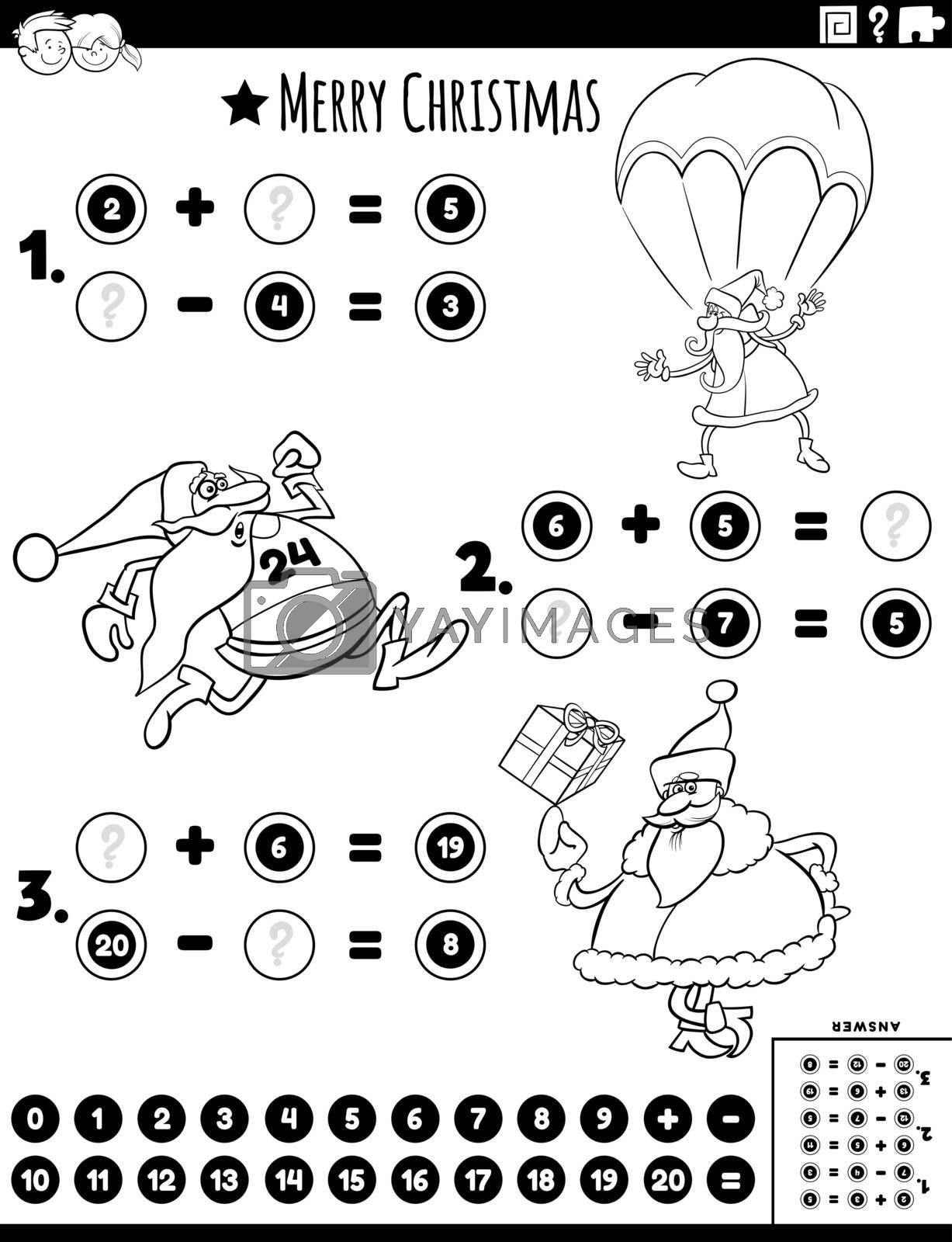 Black and White Cartoon Illustration of Educational Mathematical Addition and Subtraction Puzzle Task with Santa Christmas Characters Coloring Book Page