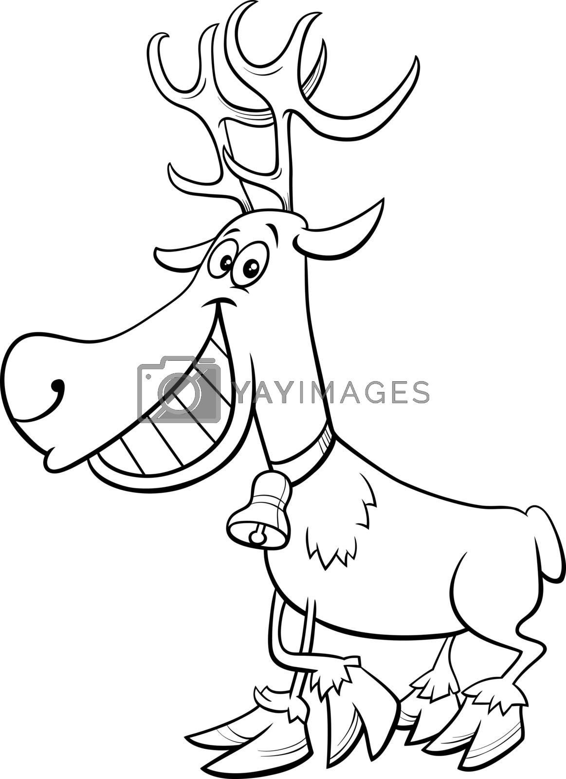 Black and White Cartoon Illustration of Christmas Reindeer Character Coloring Book Page
