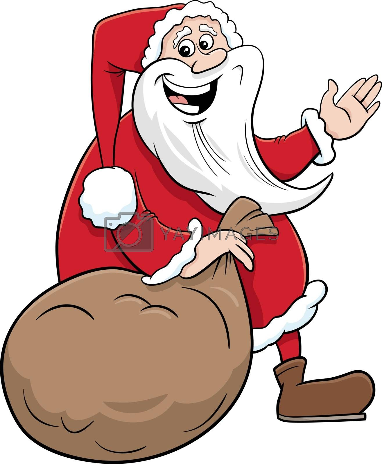 Cartoon Illustration of Santa Claus Christmas Character with Sack of Presents
