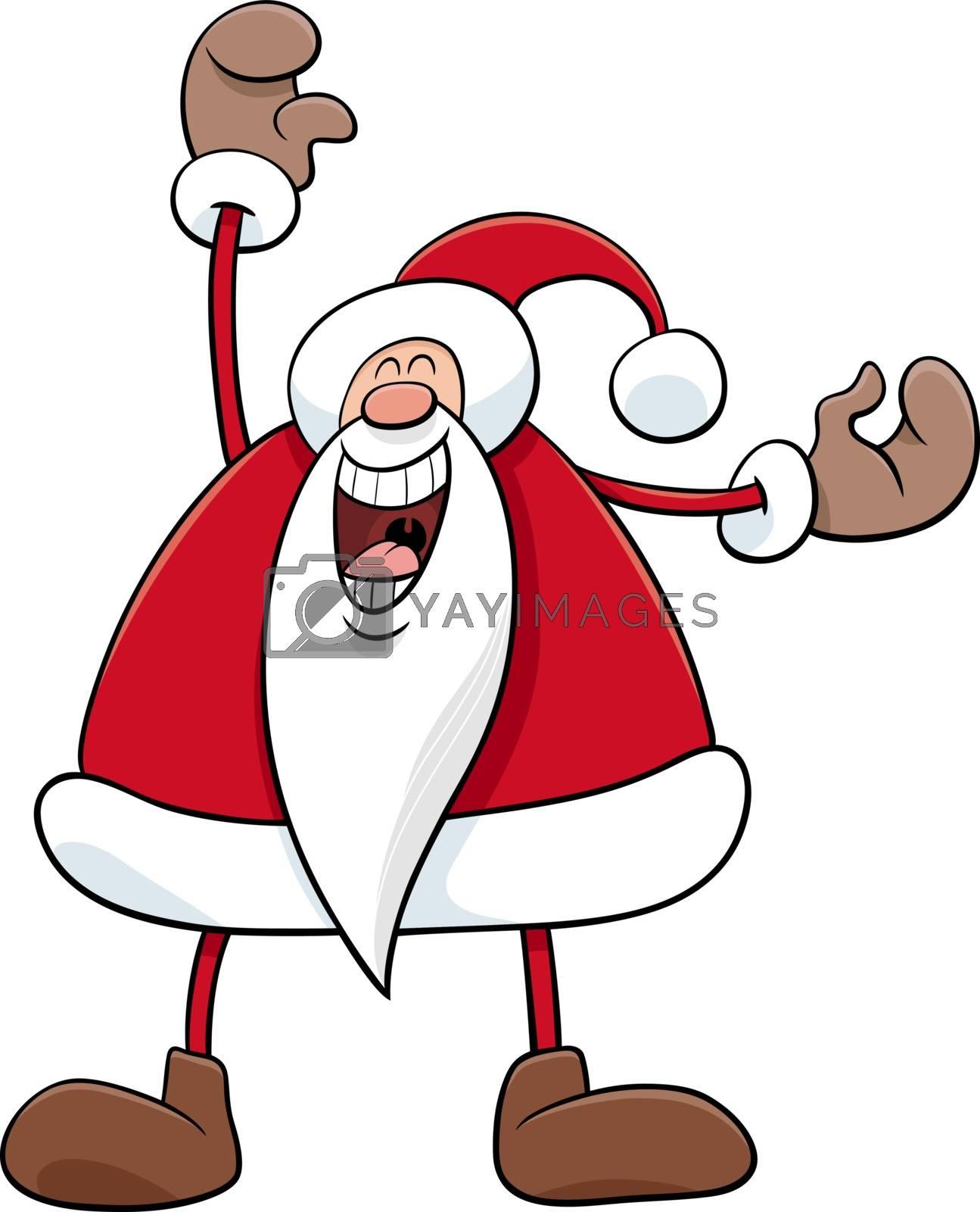 Cartoon Illustration of Happy Santa Claus Christmas Character