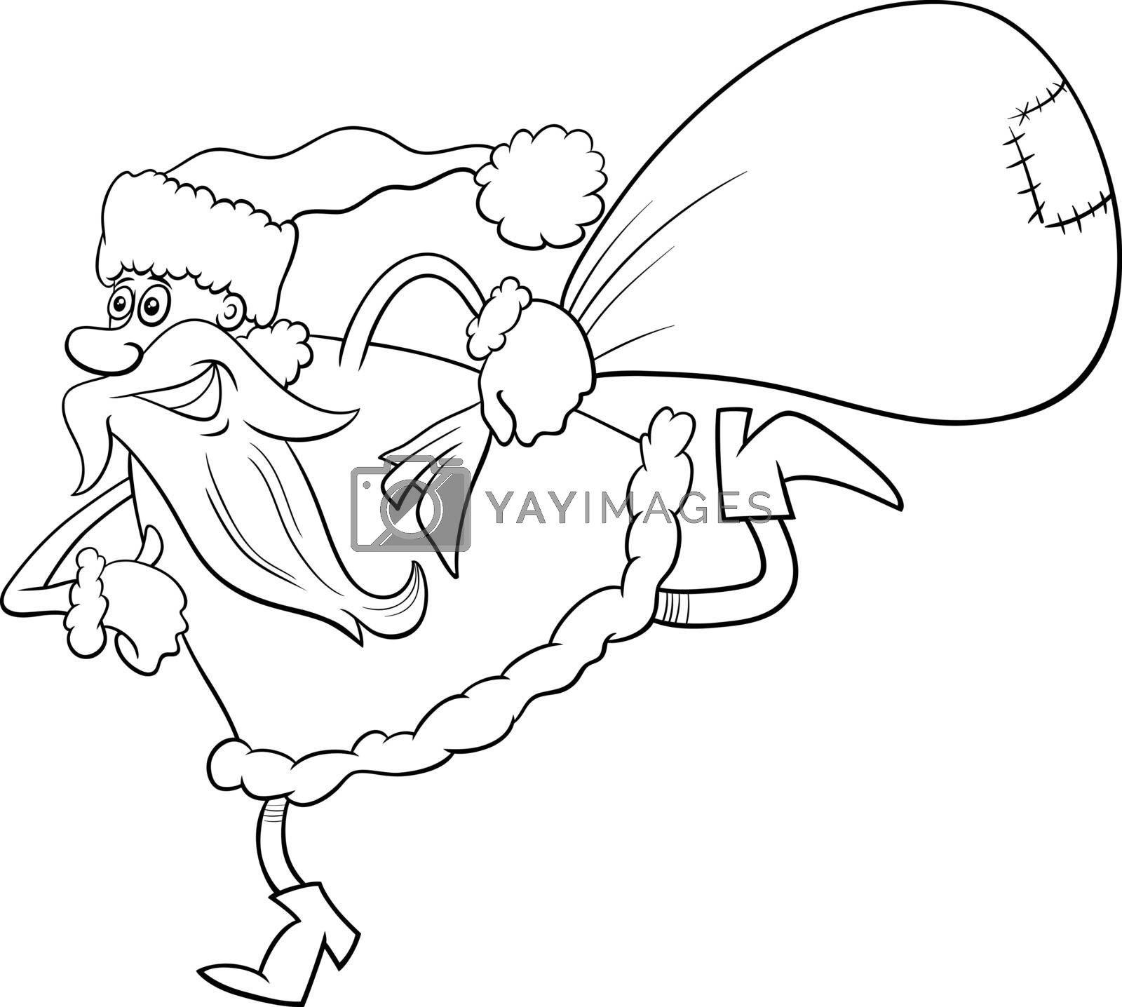Black and White Cartoon Illustration of Running Santa Claus Christmas Character with Sack of Presents Coloring Book Page
