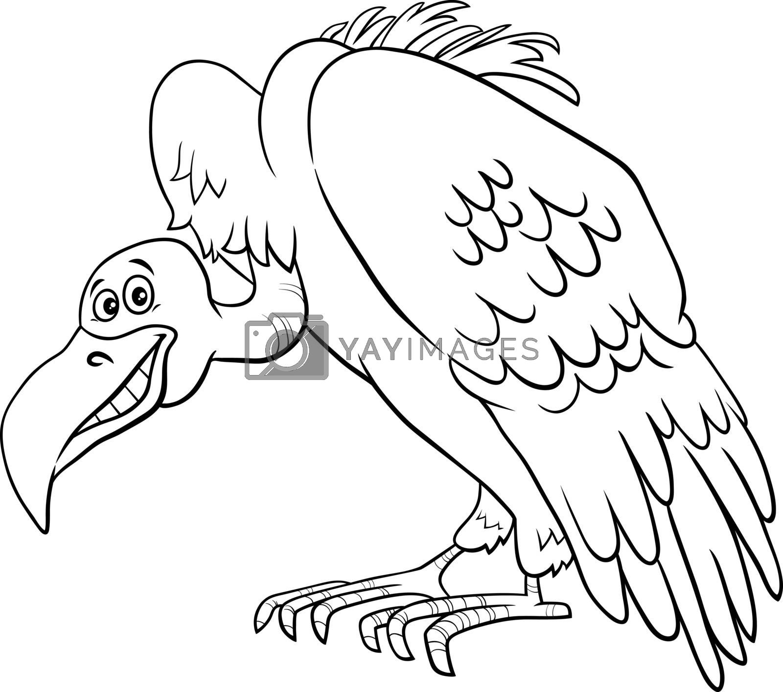 Black and White Cartoon Illustration of Vulture Bird Wild Animal Character Coloring Book Page