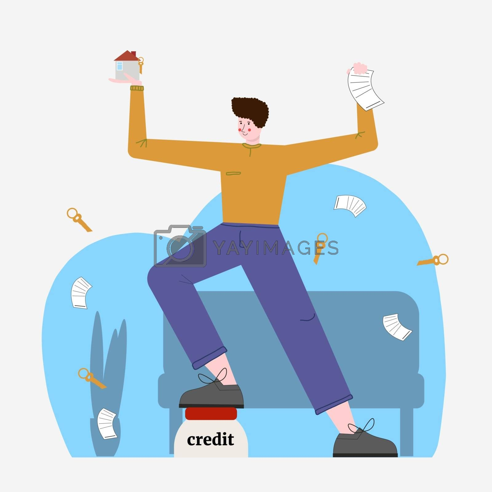 a cartoon man took out a loan at home. Mortgage and financial management concept. Banking, real estate investment. Flat vector illustrations for web pages and advertising by zaryov