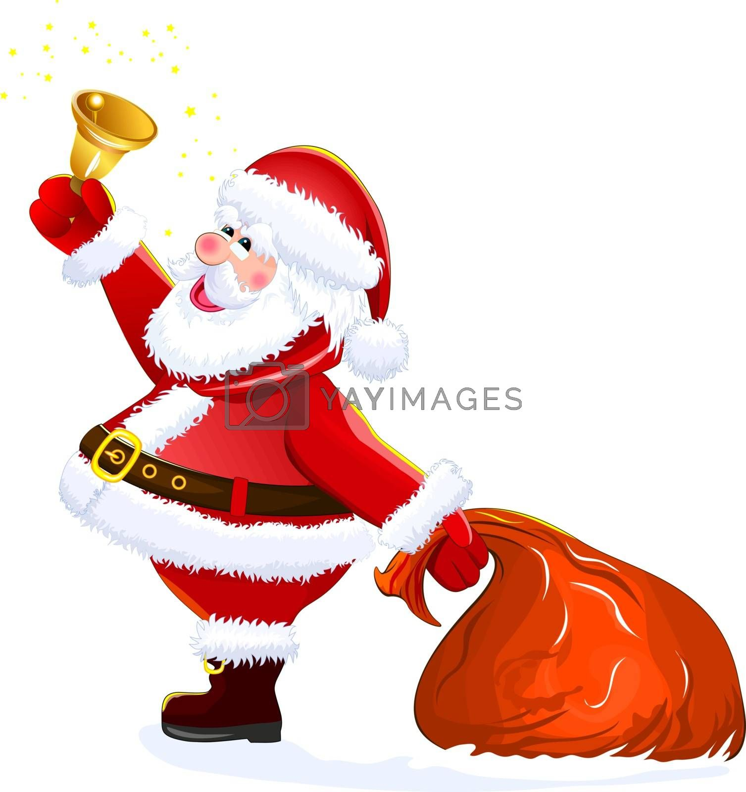 Santa with sack and bell by liolle