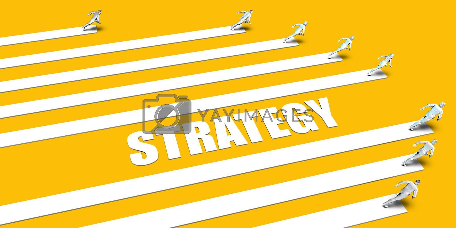 Strategy Concept with Business People Running on Yellow