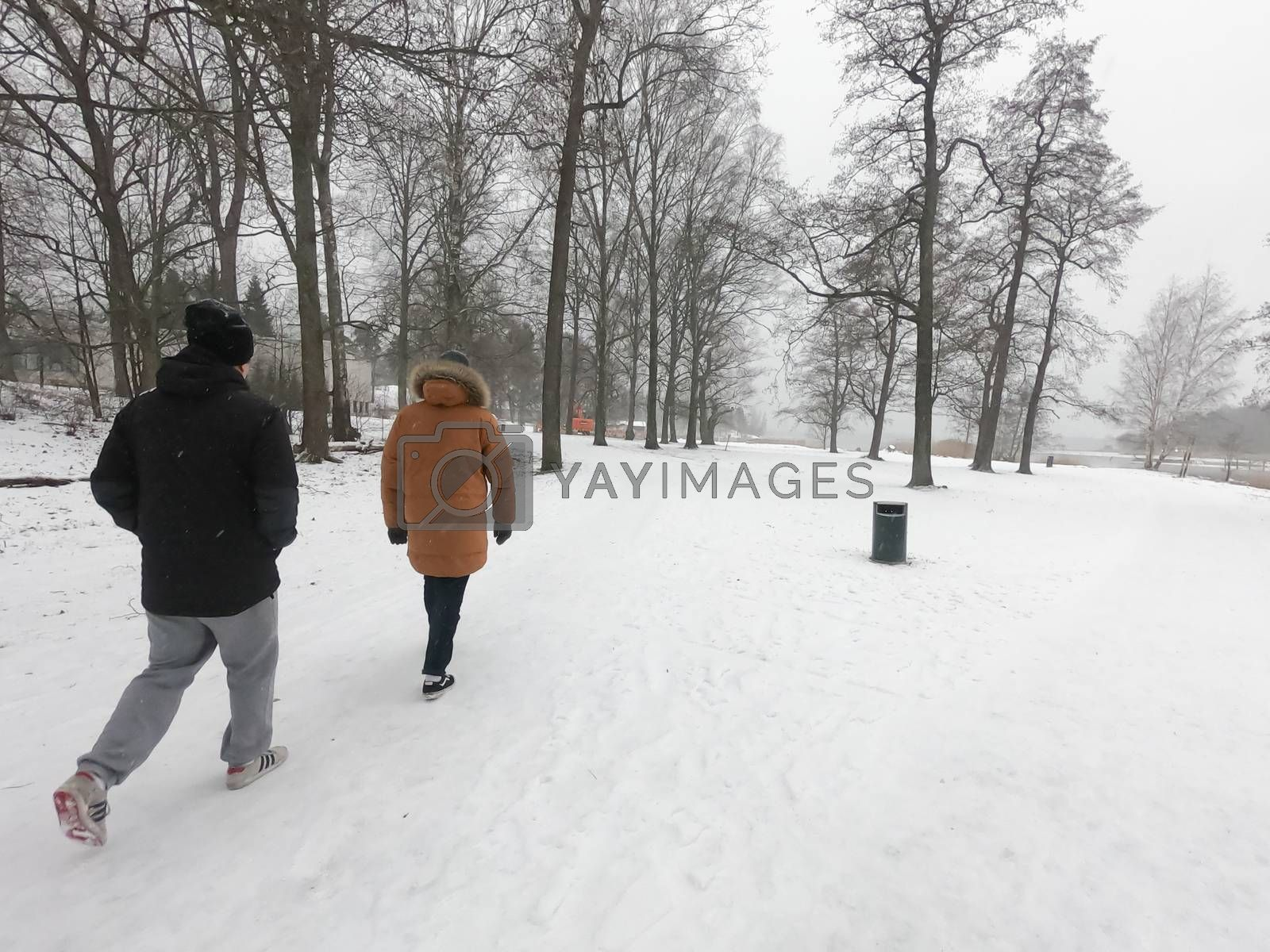 People have walked at a nature park during covid-19 pandemic soc by animagesdesign