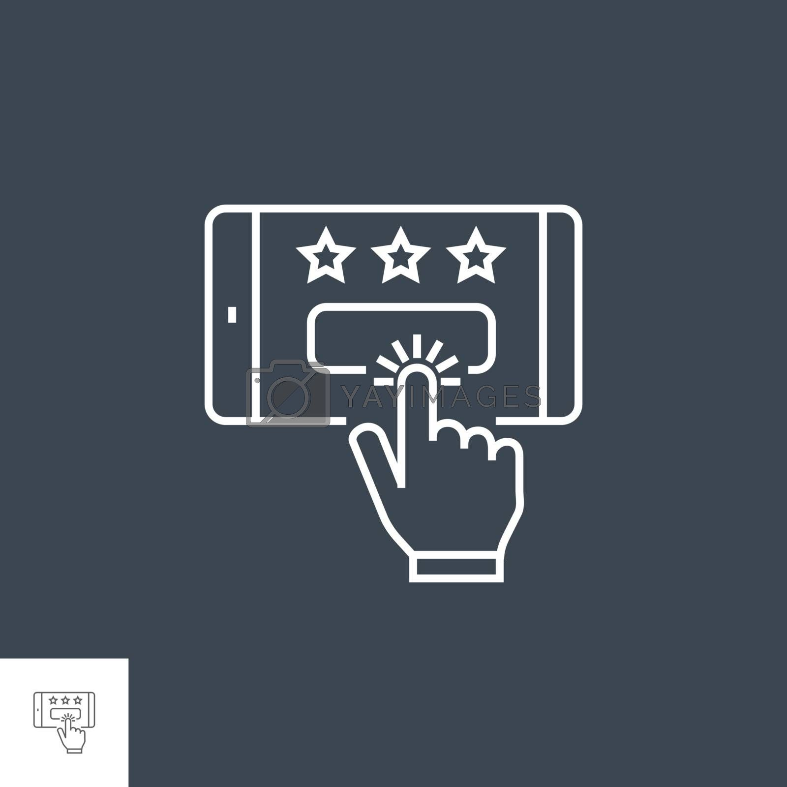 Customer Reviews Related Vector Thin Line Icon. Isolated on Black Background. Editable Stroke. Vector Illustration.