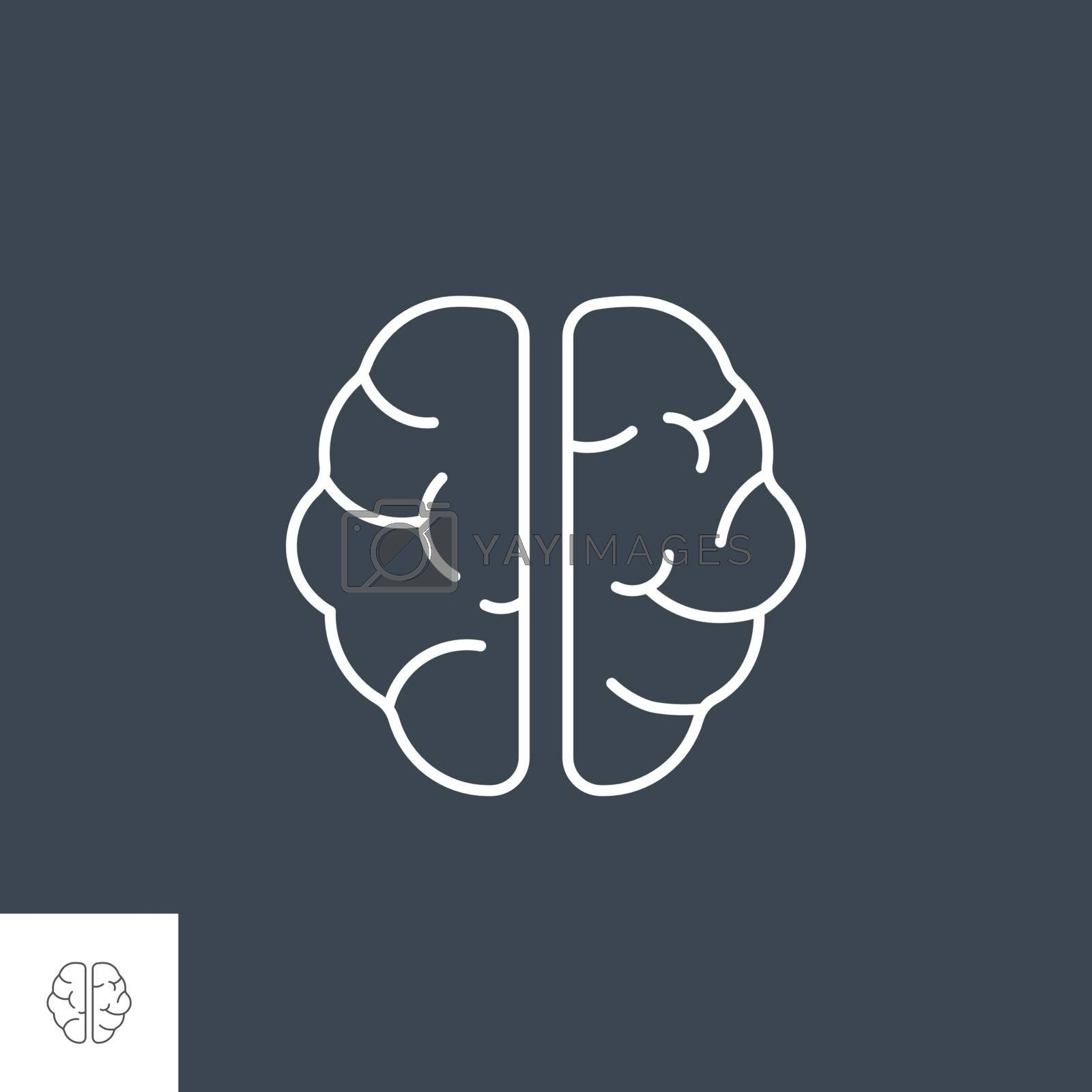 Brain Related Vector Line Icon. Isolated on Black Background. Editable Stroke.