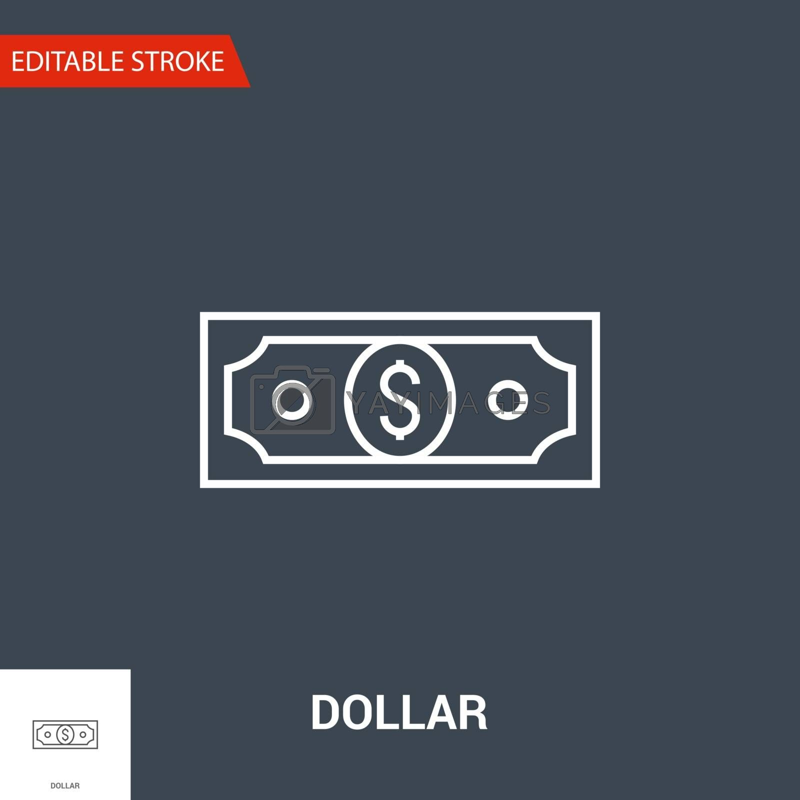 Dollar Related Vector Thin Line Icon. Isolated on Black Background. Editable Stroke. Vector Illustration.